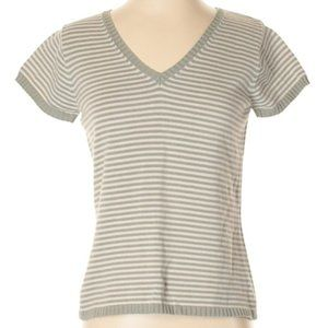 BANANA REPUBLIC Grey Striped Pullover Sweater/ Top